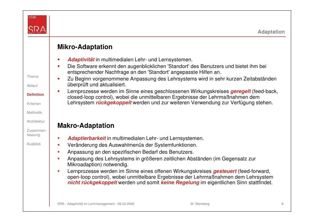 Adaptation              Mikro-Adaptation                    Adaptivität in multimedialen Lehr und Lernsystemen            ...