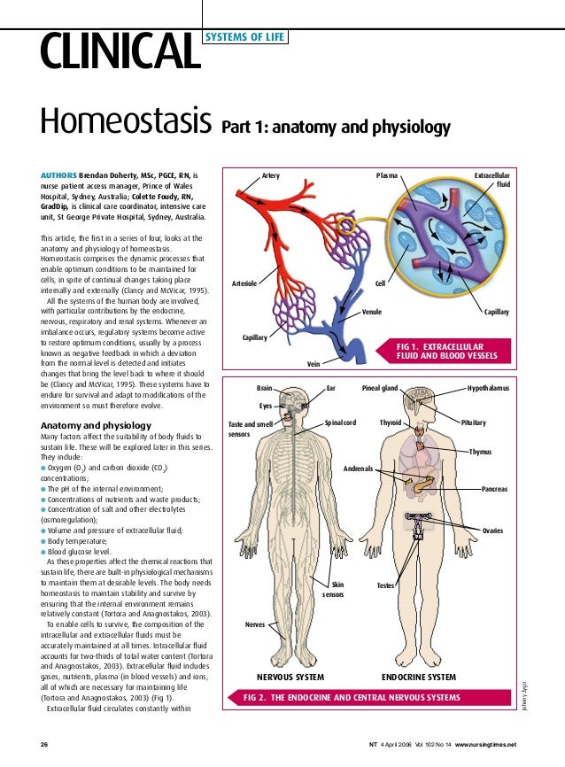 CLINICAL systems of life NT 4 April 2006 Vol 102 No 14 www.nursingtimes.net26 Homeostasis Authors Brendan Doherty, MSc, PG...
