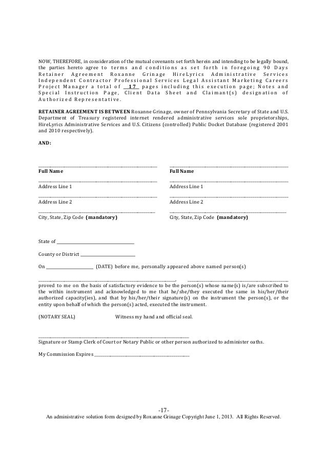 90 Days Retainer Agreement Legal Assistant Marketing