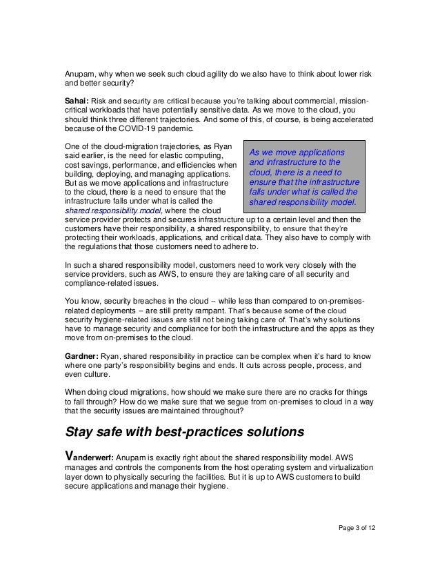 Page 3 of 12 Anupam, why when we seek such cloud agility do we also have to think about lower risk and better security? Sa...