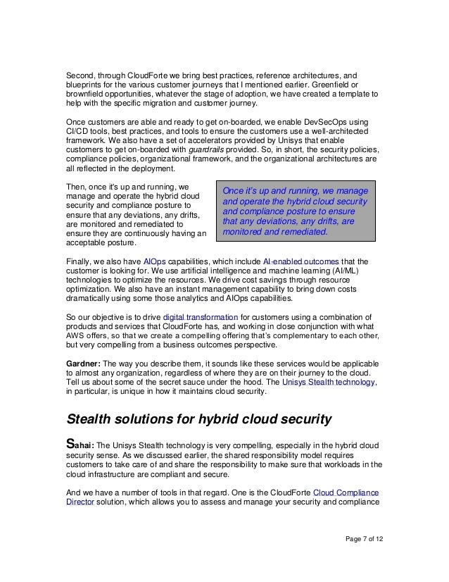 Page 7 of 12 Second, through CloudForte we bring best practices, reference architectures, and blueprints for the various c...