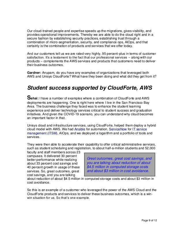 Page 9 of 12 Our cloud-trained people and expertise speeds up the migrations, gives visibility, and provides operational i...