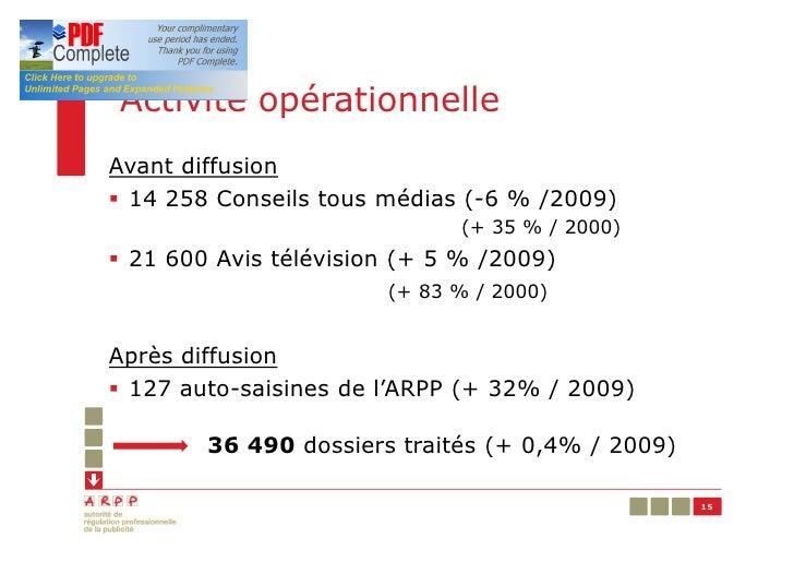 Activité opérationnelleAvant diffusion§ 14 258 Conseils tous médias (-6 % /2009)                             (+ 35 % / 200...