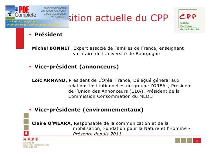 Composition actuelle du CPP§ PrésidentMichel BONNET, Expert associé de Familles de France, enseignant               vacata...