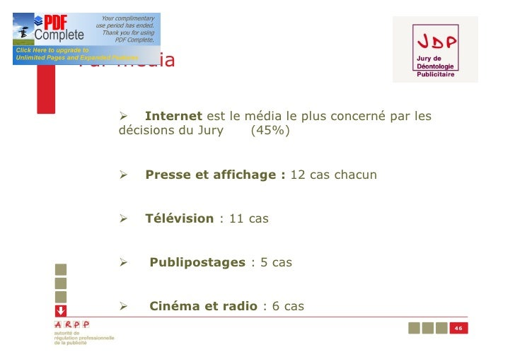 Par média   Ø Internet est le média le plus concerné par les   décisions du Jury  (45%)   Ø   Presse et affichage : 12 cas...