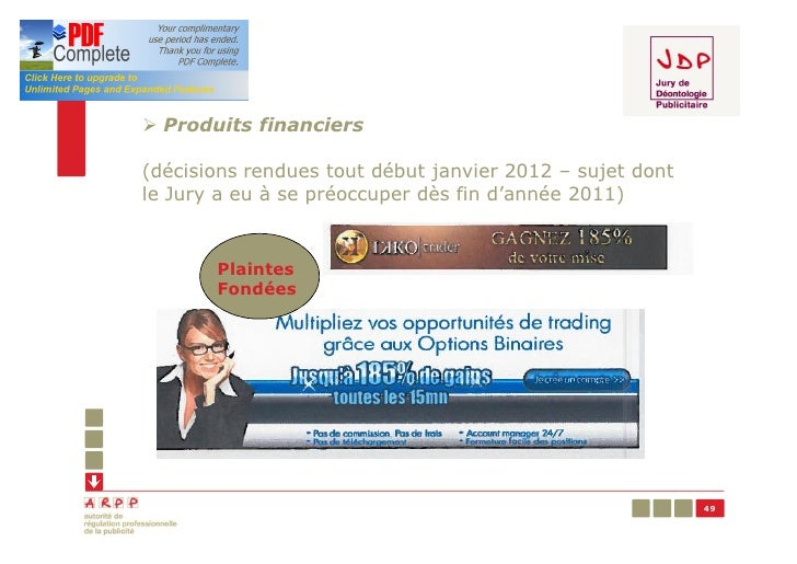 Ø Produits financiers(décisions rendues tout début janvier 2012 – sujet dontle Jury a eu à se préoccuper dès fin d'année 2...