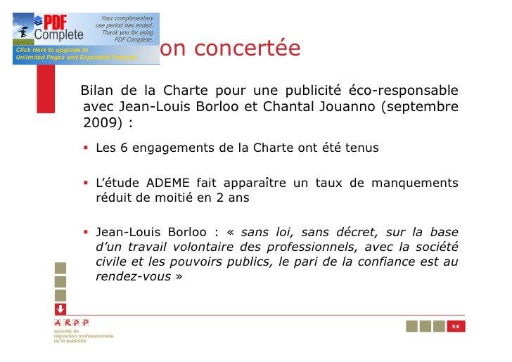 Régulation concertéeBilan de la Charte pour une publicité éco-responsableavec Jean-Louis Borloo et Chantal Jouanno (septem...