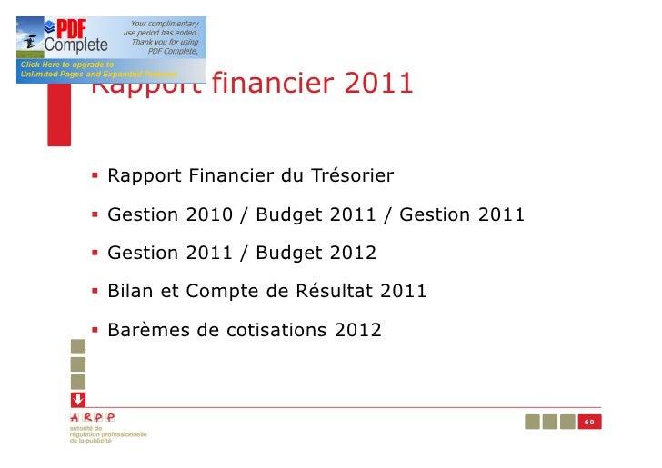 Rapport financier 2011§ Rapport Financier du Trésorier§ Gestion 2010 / Budget 2011 / Gestion 2011§ Gestion 2011 / Budget 2...