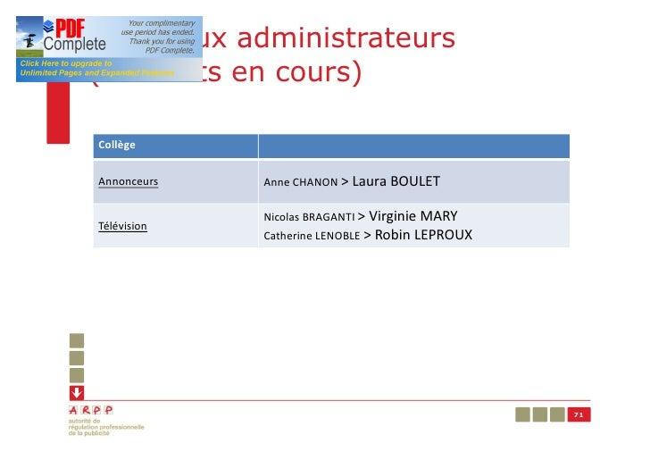 Nouveaux administrateurs(mandats en cours)CollègeAnnonceurs   Anne CHANON > Laura BOULET             Nicolas BRAGANTI > Vi...