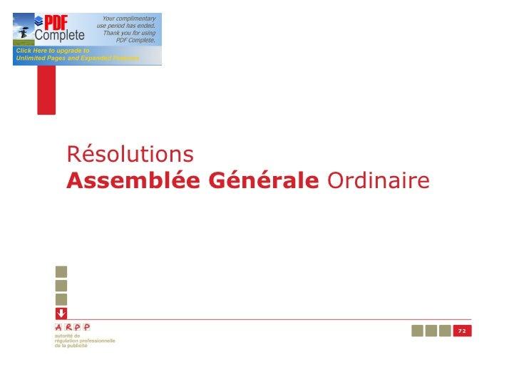 RésolutionsAssemblée Générale Ordinaire                               72