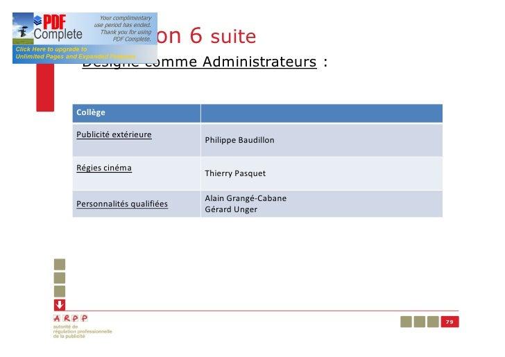 Résolution 6 suite§ Désigne comme Administrateurs :CollègePublicité extérieure                           Philippe Baudillo...