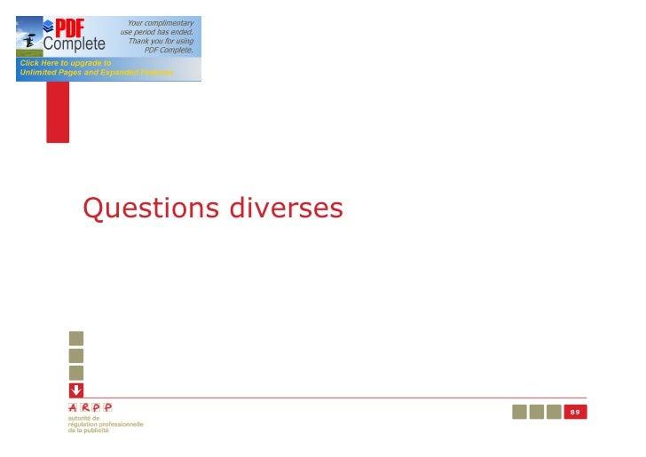 Questions diverses                     89