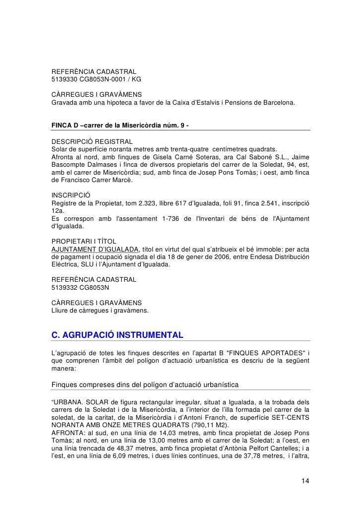 Projecte reparcelacio soledat reparcelacio soledad m - Caixa d estalvis i pensions de barcelona oficinas ...