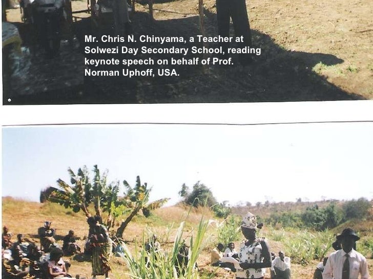 Mr. Chris N. Chinyama, a Teacher at Solwezi Day Secondary School, reading keynote speech on behalf of Prof. Norman Uphoff,...