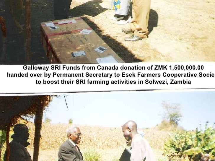 Galloway SRI Funds from Canada donation of ZMK 1,500,000.00 handed over by Permanent Secretary to Esek Farmers Cooperative...
