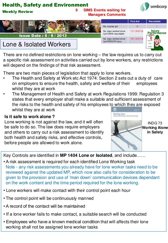 Health, Safety and Environment Issue Date: Weekly Review Issue Date : 6 / 8 / 2013 SIMS Events waiting for Managers Commen...