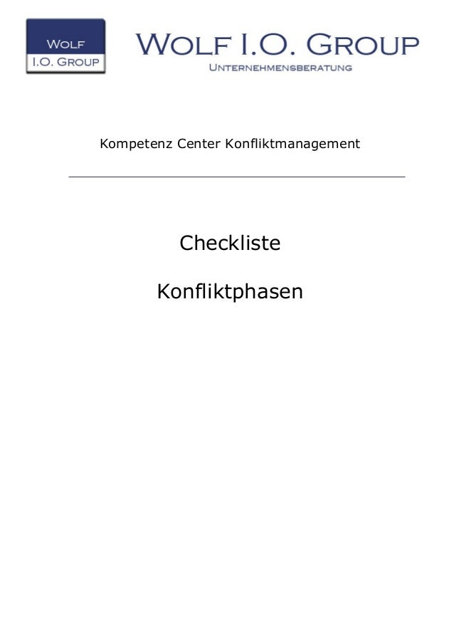 Kompetenz Center Konfliktmanagement Checkliste Konfliktphasen