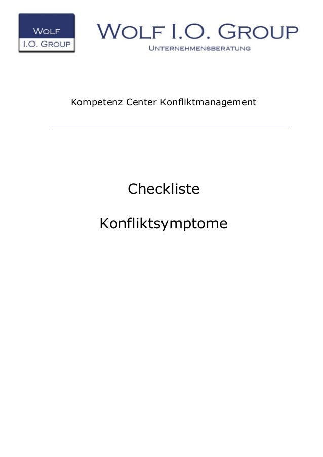 Kompetenz Center Konfliktmanagement Checkliste Konfliktsymptome