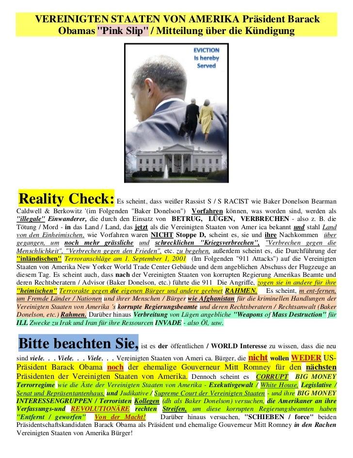 """VEREINIGTEN STAATEN VON AMERIKA Präsident Barack         Obamas """"Pink Slip"""" / Mitteilung über die KündigungReality Check: ..."""