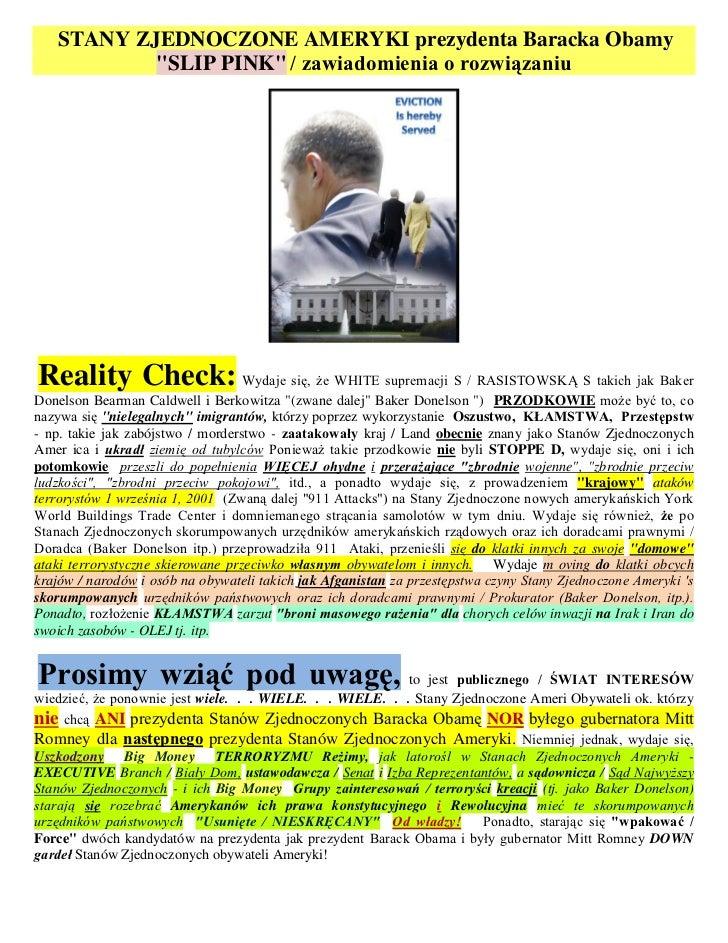 """STANY ZJEDNOCZONE AMERYKI prezydenta Baracka Obamy           """"SLIP PINK"""" / zawiadomienia o rozwiązaniuReality Check: Wydaj..."""