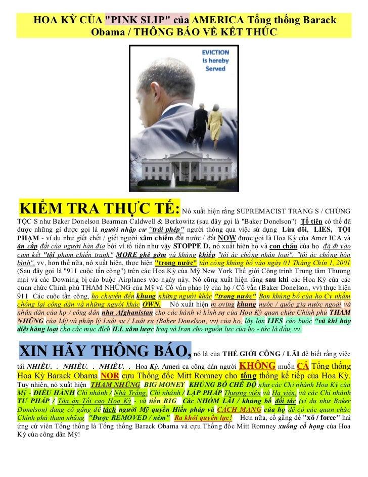 """HOA KỲ CỦA """"PINK SLIP"""" của AMERICA Tổng thống Barack             Obama / THÔNG BÁO VỀ KẾT THÚCKIỂM TRA THỰC TẾ: Nó xuất hi..."""
