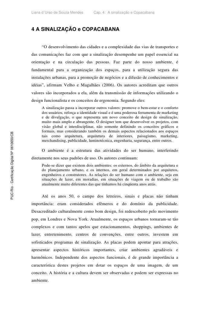 Liana d´Urso de Souza Mendes        Cap. 4: A sinalização e Copacabana                                                   4...