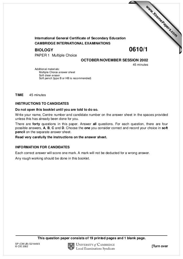 w  w ap eP  m  e tr .X  w om .c  s er  International General Certificate of Secondary Education CAMBRIDGE INTERNATIONAL EX...