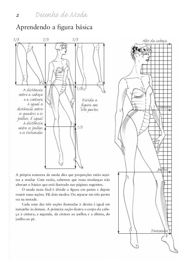 Proporções da figura humana 3 Aqui a figura está desenhada em duas seções iguais. A pri- meira metade vai da cabeça ao fim...