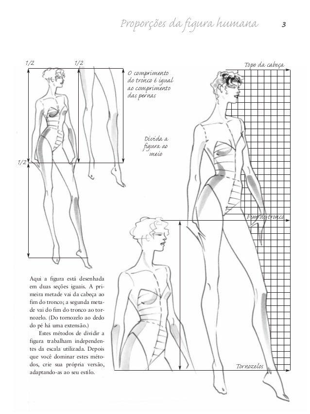 4 Desenho de Moda Divida mais a figura e observe as relações entre as seções. Cada parte é ligeiramente maior ou menor em ...