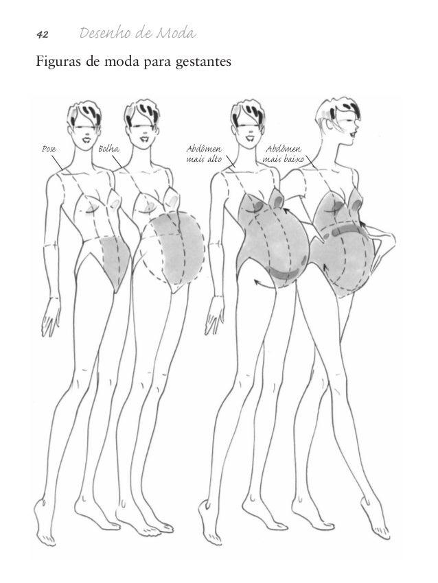 Proporções da figura humana 43 Look gestante Look de moda gestante geralmente focaliza o con- torno máximo da modelo grávi...
