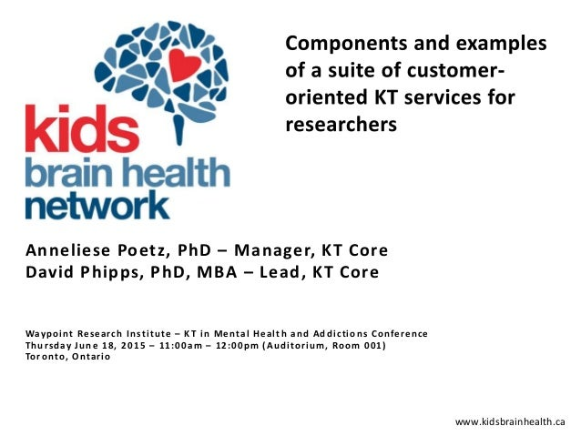www.kidsbrainhealth.ca Anneliese Poetz, PhD – Manager, KT Core David Phipps, PhD, MBA – Lead, KT Core Waypoint Research In...