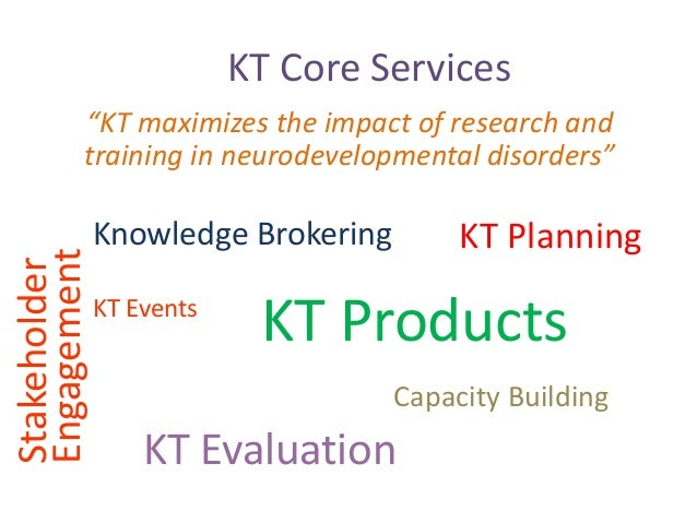 """KT Core Services """"KT maximizes the impact of research and training in neurodevelopmental disorders"""" Knowledge Brokering Ca..."""