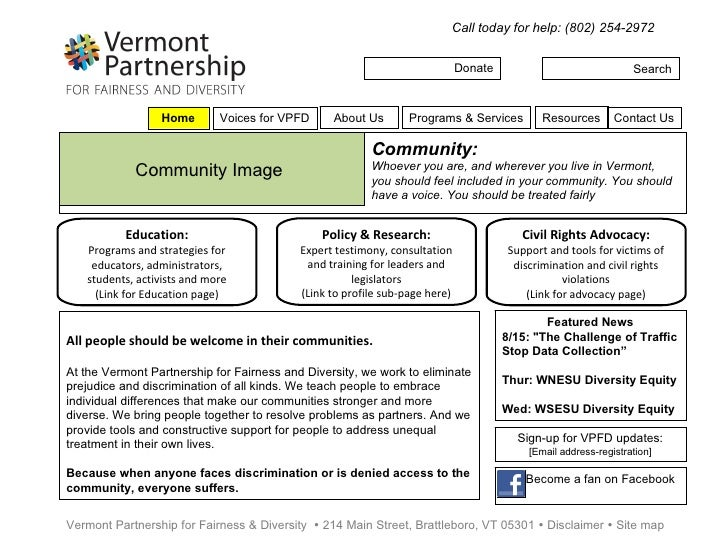 Donate Search Call today for help: (802) 254-2972 Vermont Partnership for Fairness & Diversity    214 Main Street, Brattl...