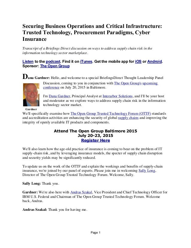Page 1 Securing Business Operations and Critical Infrastructure: Trusted Technology, Procurement Paradigms, Cyber Insuranc...