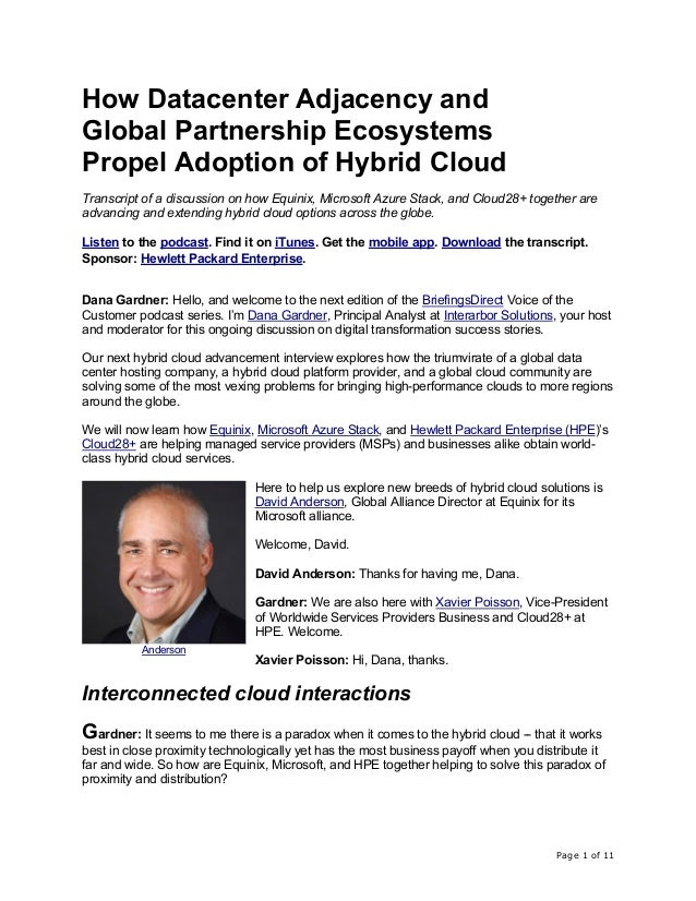 Page 1 of 11 How Datacenter Adjacency and Global Partnership Ecosystems Propel Adoption of Hybrid Cloud Transcript of a di...