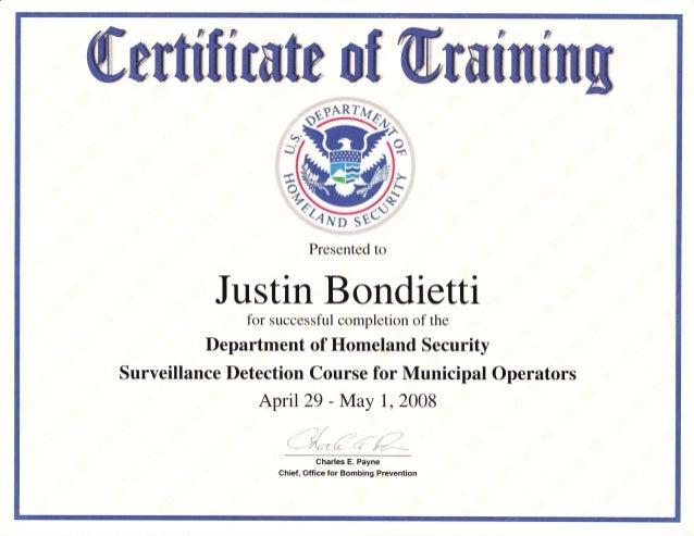 Surveillance Detection Certificate