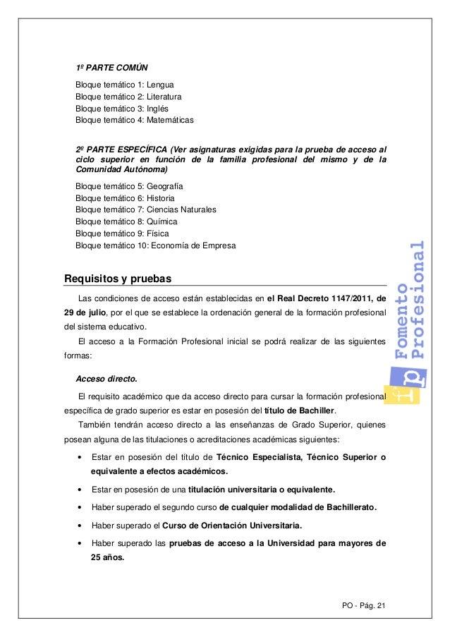 Pruebas De Acceso A Ciclos Formativos De Grado Superior