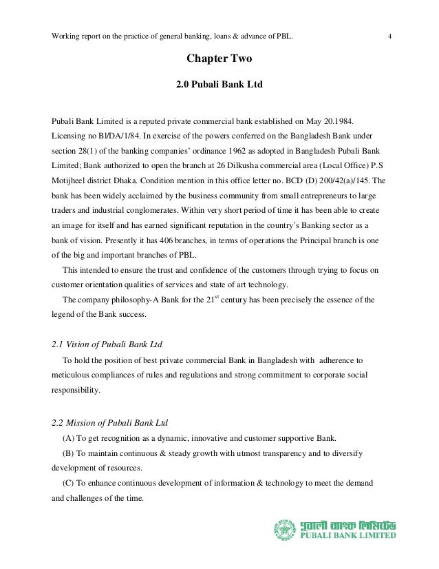 internship report on pubali bank The scope of the study is entire pubali bank limited this report is a descriptive study which tries to focus on the theories and practices of credit risk management .