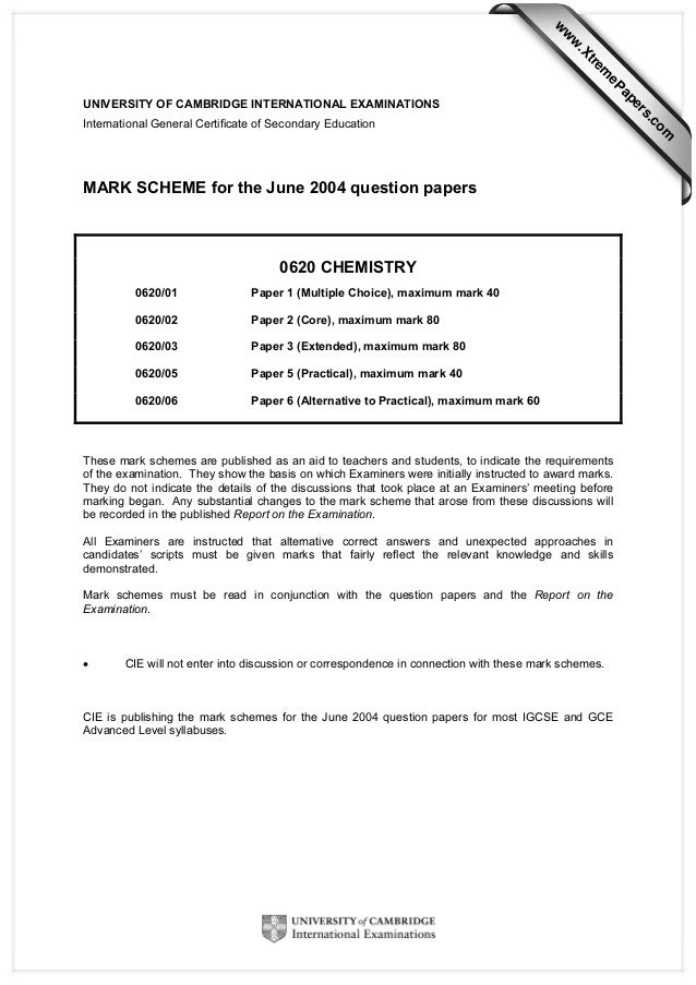 w  w ap eP  m  e tr .X  w  MARK SCHEME for the June 2004 question papers  0620 CHEMISTRY 0620/01  Paper 1 (Multiple Choice...