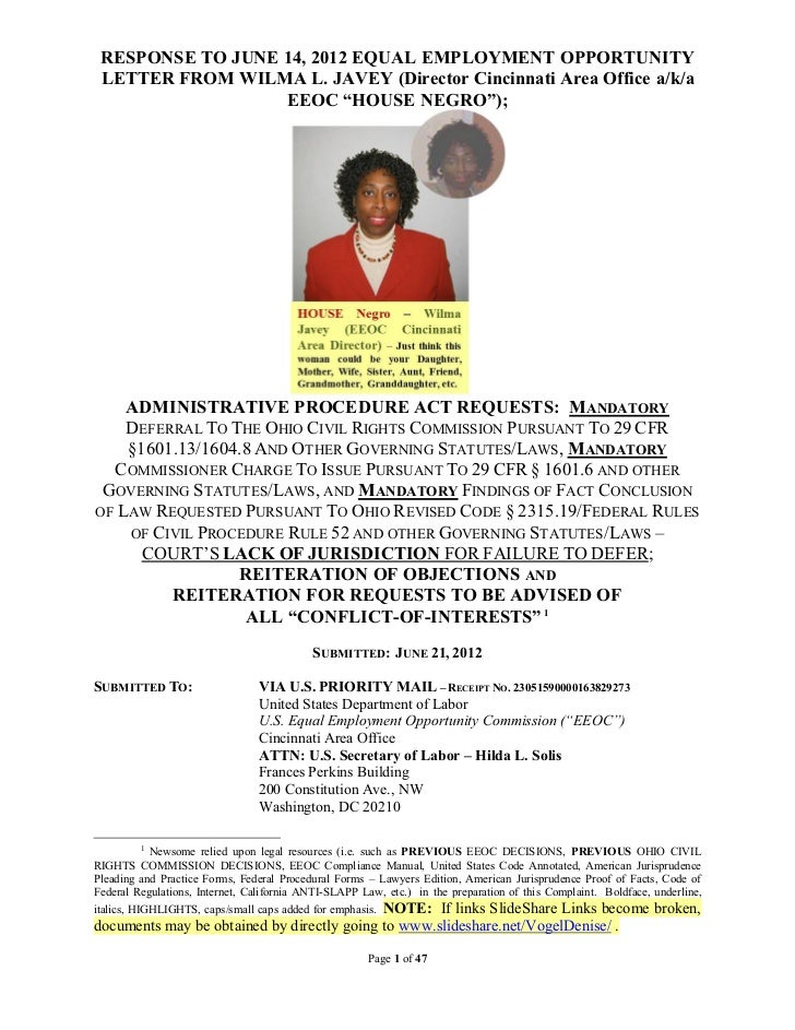 RESPONSE TO JUNE 14, 2012 EQUAL EMPLOYMENT OPPORTUNITY LETTER FROM WILMA L. JAVEY (Director Cincinnati Area Office a/k/a  ...