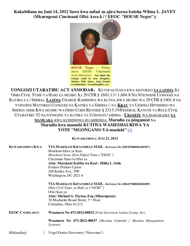 Kukabiliana na Juni 14, 2012 Sawa kwa nafasi za ajira barua kutoka Wilma L. JAVEY            (Mkurugenzi Cincinnati Ofisi ...