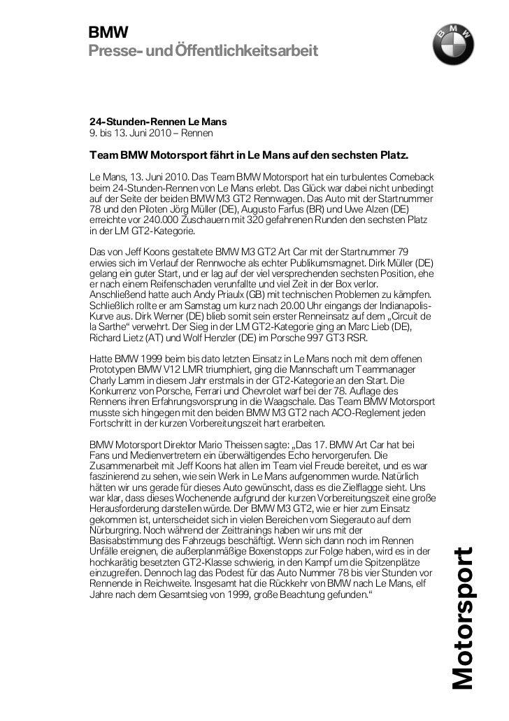 BMWPresse- und Öffentlichkeitsarbeit24-Stunden-Rennen Le Mans9. bis 13. Juni 2010 – RennenTeam BMW Motorsport fährt in Le ...