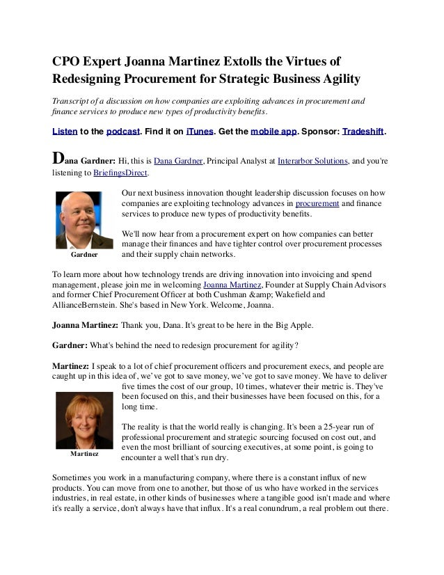 CPO Expert Joanna Martinez Extolls the Virtues of Redesigning Procurement for Strategic Business Agility Transcript of a d...