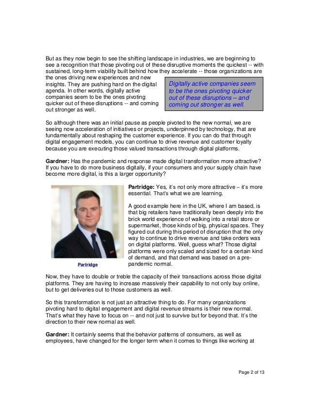 Page 2 of 13 But as they now begin to see the shifting landscape in industries, we are beginning to see a recognition that...