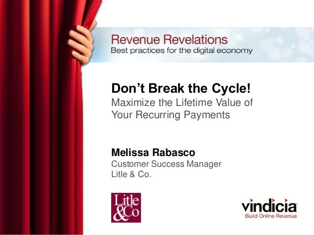 Don't Break the Cycle! Maximize the Lifetime Value of Your Recurring Payments Melissa Rabasco Customer Success Manager Lit...