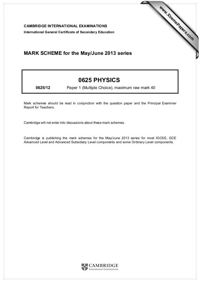 Physics 0625 - Paper 1 version 2 - Mark scheme - May Jun 2013