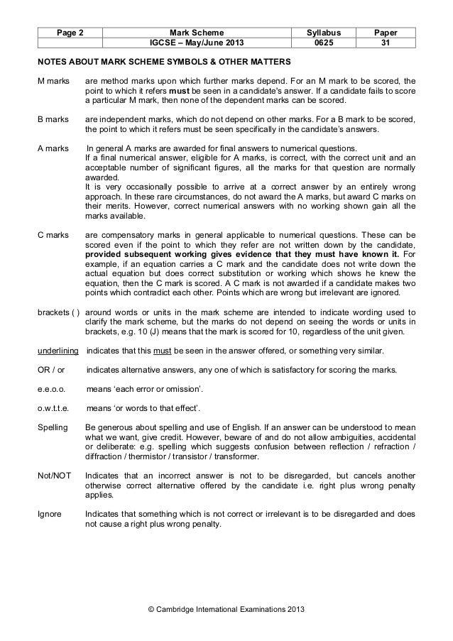 Physics 0625 paper 3 version 3 mark scheme may jun 2014.