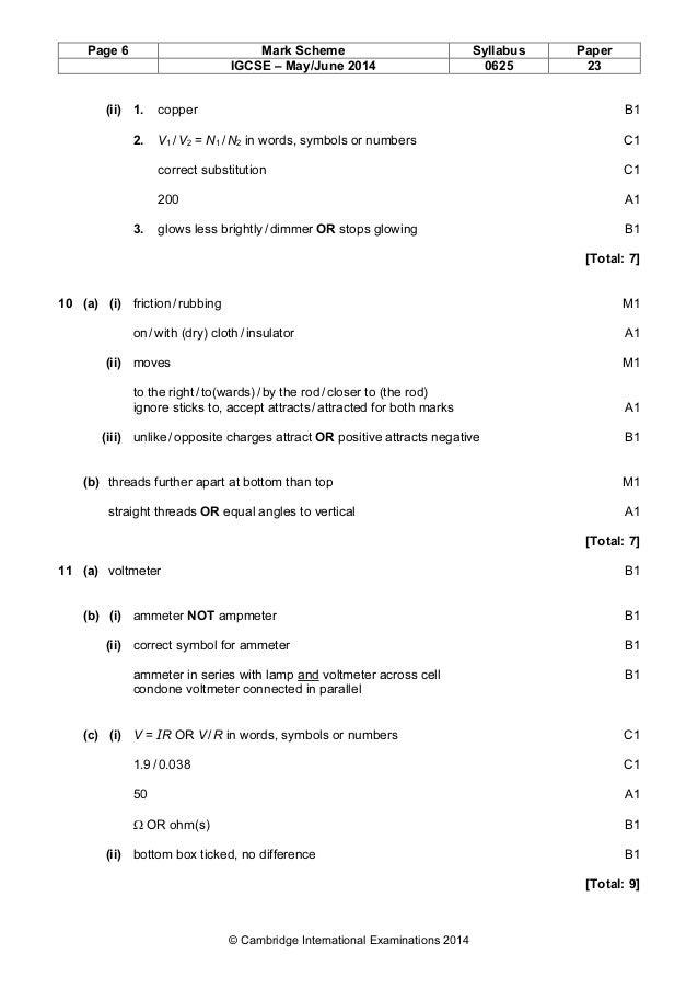 Physics 0625 Paper 2 Version 3 Mark Scheme May Jun 2014