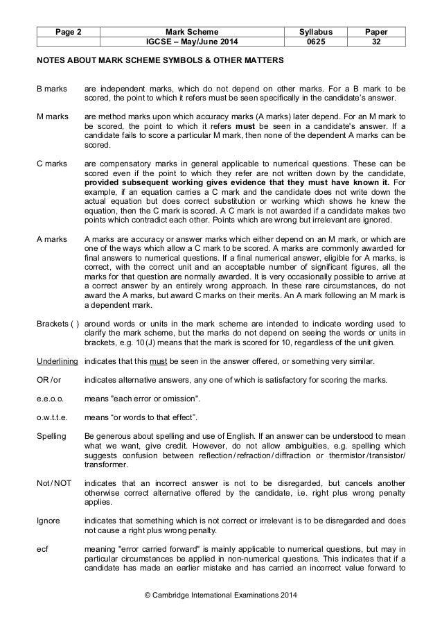Physics 0625 - Paper 3 version 2 - Mark scheme - May Jun 2014