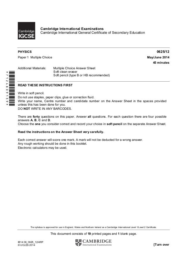 Physics 0625 - Paper 1 version 2 - Question Paper - May Jun 2014